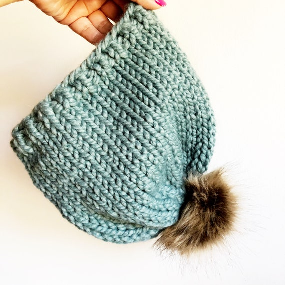 Kids Winter Toque in Sea Glass Blue Wool Blend