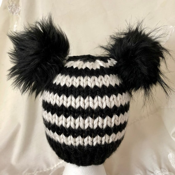 Black and White Striped Double Pom Beanie (missed stitches) SALE