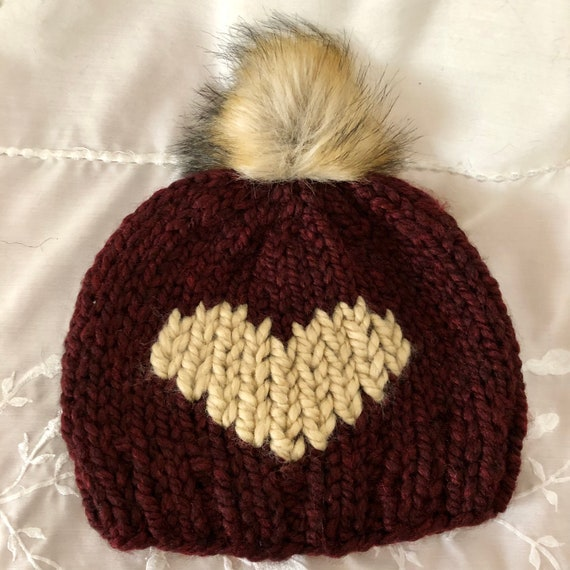 Giant Heart Beanie in Claret and Peanut