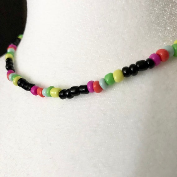 Black and Multi Colored Bead Choker Necklace