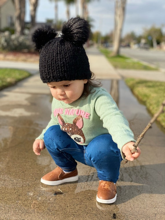 Double Pom Pom Beanie in Black - Toddler