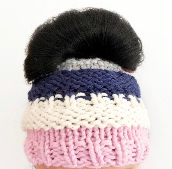 Messy Bun Beanie in Pink Cream Blue and Gray