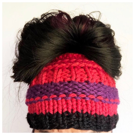 Messy Bun Beanie in Black, Hot Pink, Red, and Orange