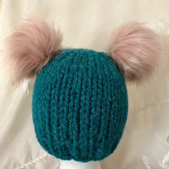 Teal Beanie with Dusty Pink Double Poms Child Size