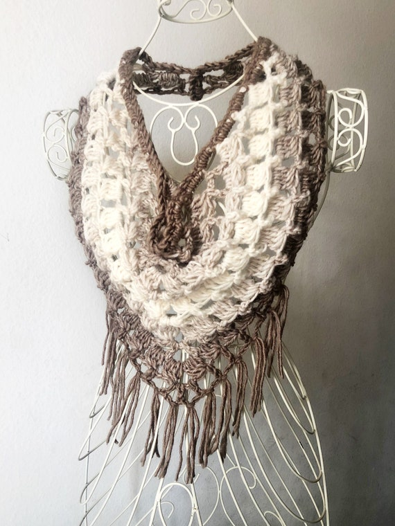 Festival Fringe Scarf in Brown and Cream, Neutrals