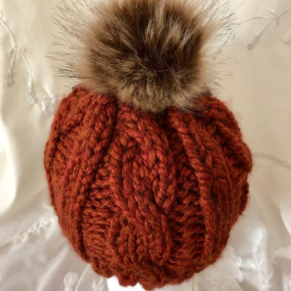 Cable Knit Childs Beanie in Rust