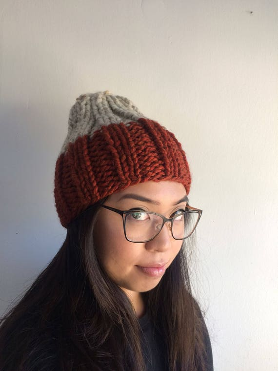 Adult Rocco Knit Beanie in Fossil and Spice