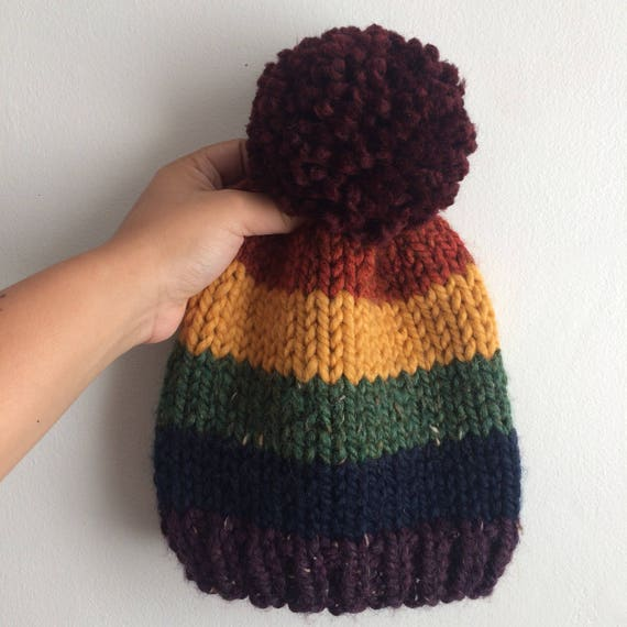 Rainbow Beanie with Pom Pom
