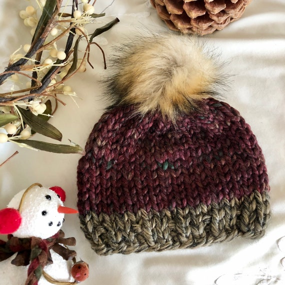 Red Tweed and Brown Baby Beanie with Faux Fur Pom