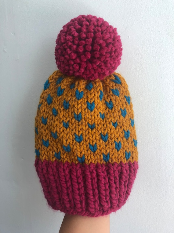 Magenta, Orange and Teal Winter Beanie with Pom Pom