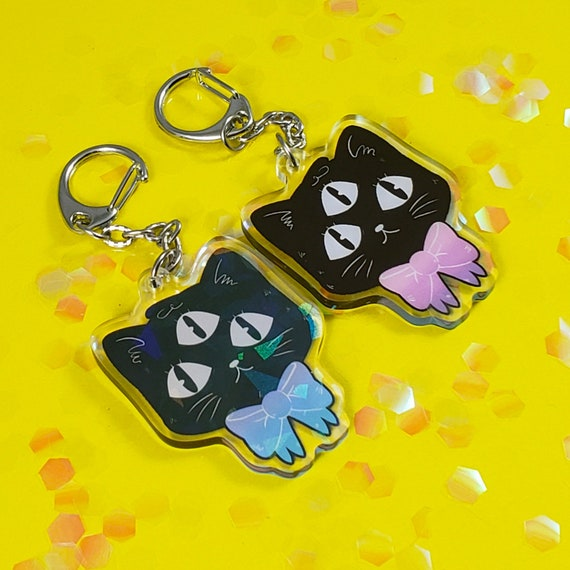 55mm Alien Cat Fashion Double Sided Holographic Keyring