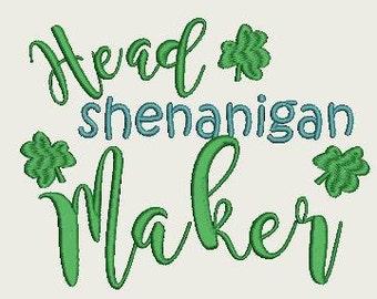 Head Shenanigan Maker St. Patrick's Day Embroidery design