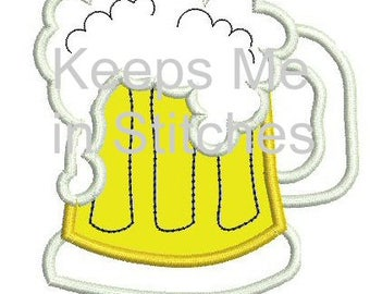 Beer Mug Embroidery Applique Design in 3 sizes