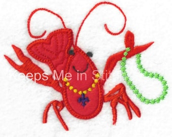 Crawfish Applique Embroidery Design Mardi Gras