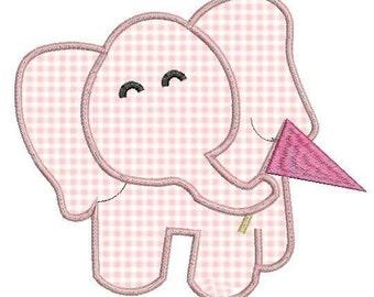 Baby elephant embroidery design applique