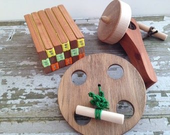 Folk Toy Collection - Handcrafted Wooden Folk Toy Collection Includes Top, Jacob's Ladder and Spinning Wheel - Hand Exercise Wheel for Adult