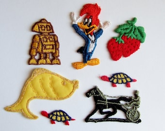 Kitsch Fun Embroidered Appliques - Robot, Woody Woodpecker, Strawberries, Turtles - Slightly Random Mixed Lot of Vintage Patches from 1970s