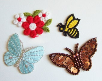 Cute Fun Embroidered Appliques - Butterflies, Bee and Flowers - Small Kitsch Vintage Patches