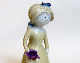 Sweet Girl Figurine - Cute Vintage Ceramic Lady Figurine with Long Dress and Basket