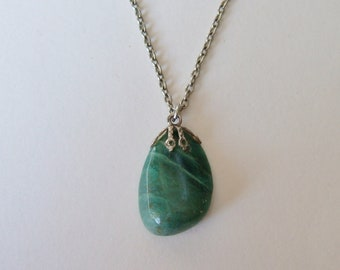 Vintage Jade Pendant - 1970s Necklace with Polished Stone on Silvertone Chain - Natural Shape Gemstone