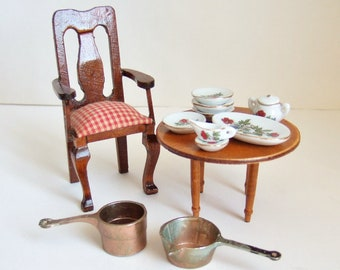 Doll's House Wooden Chair, Table, China Dinner Service and Copper Pans - Vintage Dollhouse Miniatures for Kitchen, Dining Room
