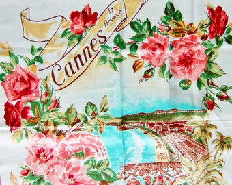 Kitsch Vintage Souvenir Scarf from Cannes - Square Scarf with Scenic Picture and Pink Roses - South of France