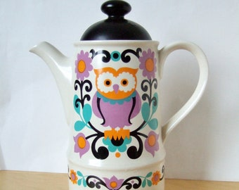 1970s Folk Art Owl Coffee Pot by Sadler - Colourful Mod Design in Gorgeous Colours