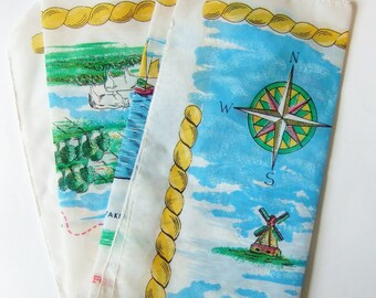 East Anglia Map Scarf  - Kitsch Vintage Square Scarf with Scenes from the Fens, Norwich, Cambridge, Suffolk