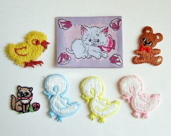 Small Embroidered Appliques or Patches - Cute Ducklings, Kittens, Teddy - Kitsch Vintage Embellishments