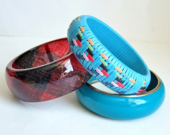 Chunky Bangles in Metal and Acrylic Plastic - Vintage Woven, Turquoise and Dark Red Bangle Bracelets