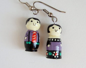 Kokeshi Style Doll Earrings - Cute Couple of Painted Wooden Figures on Drop Earrings