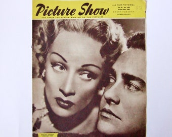 Picture Show Magazine 1950 with Marlene Dietrich - Vintage British Movie Magazine with Glamorous Stars and Great Old Adverts