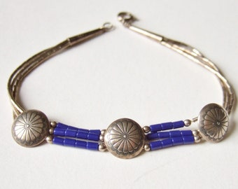 Silver & Blue Mexican Bracelet - Delicate Vintage Bracelet in 925 Silver with Stylised Flower Discs and Blue Beads