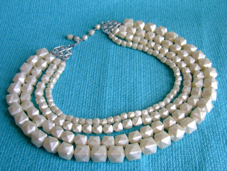 ee503f0b360b6 Vintage Graduated Pearl Bead Necklace - Angular Shape Faux Pearls - 1950s  Four Strand Bead Necklace