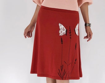 Women's burnt orange floral midi skirt with lavender print and cream lace butterfly butterfly embroidery design, Butterfly skirt knee length