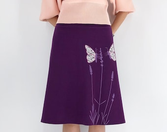 Plum purple cotton jersey knit plus size skirt with butterfly lace sew on patch and lavender floral print