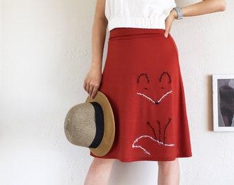 c22d7122c2 Burnt Orange Fox Skirt . Midi Skirt for Women . Animal Lover Skirt . Jersey  Knit Applique Skirt . Fold Over Knee Length Skirt