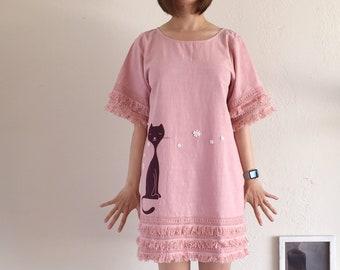 bc553ba04b84 Short Sleeve Round Neck Dress with Layered Fringe Crochet Hems