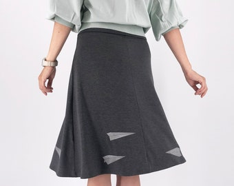 Elastic waist plus size A-line skirt with white paper airplane screen print, Trendy plus size clothing in Charcoal gray jersey knit fabric
