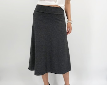 Jersey knit cotton A line midi skirt in dark charcoal gray / navy blue, Preppy classic tea length skirt in soft stretchy jersey knit fabric