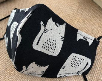 Reusable washable cloth face mask with cat print cotton linen blend fabric, Fall dark navy blue face mask with nose wire and filter pocket