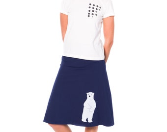 Navy blue A-line skirt plus with white polar bear print and embroidery design, Stretch cotton jersey knit plus size skirt midi in XL 2XL 3XL