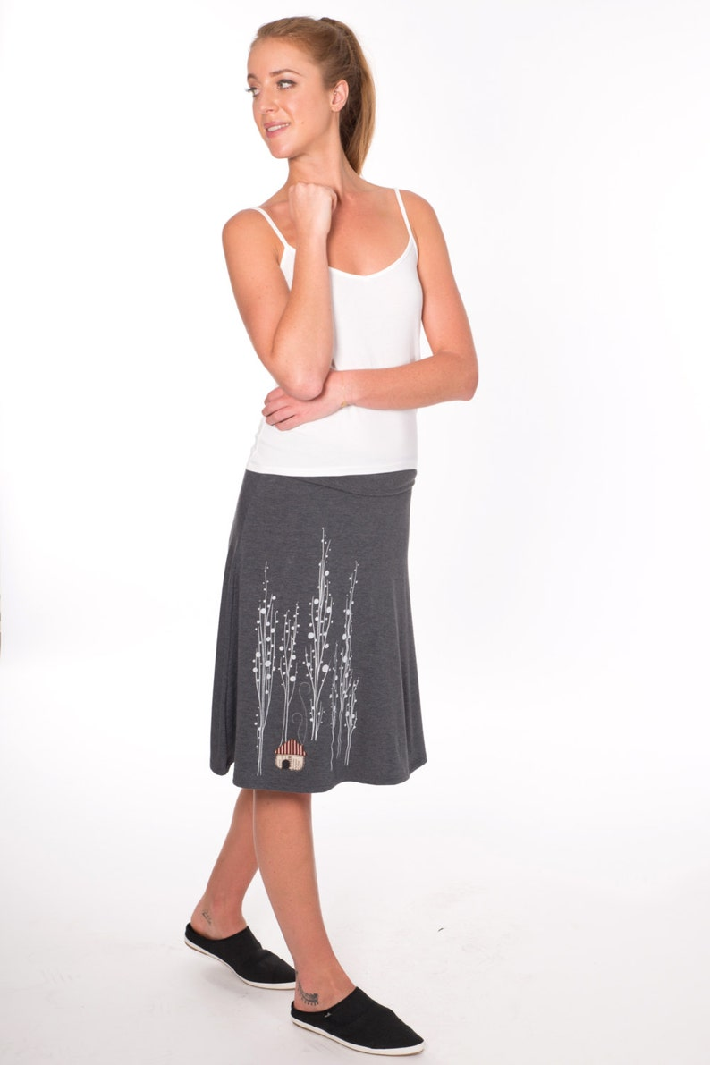 Jersey Fold Over Skirt Surrounded by big trees High waisted skirt Grey Midi Skirt with House Appliqu\u00e9 Gift for wife Women Summer skirt