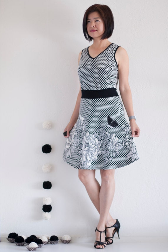 Unique Gifts For Her Black And White Floral Knit Dress With Butterfly Lace Applique Midi Dress Summer Dress Applique Dress