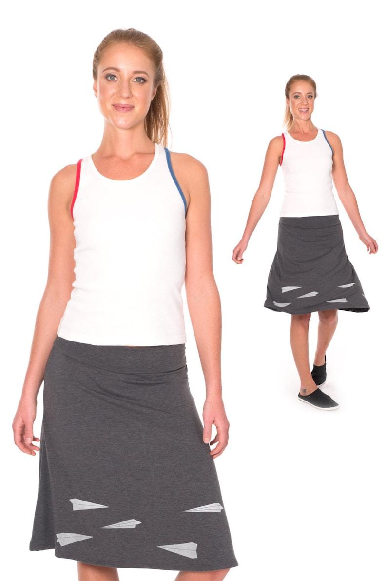 bba221f6f4 Plus size A-line skirt Knit waistband skirt Midi skirt   Etsy