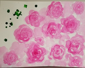Abstract Pink Roses - India Ink Watercolor Painting - Original