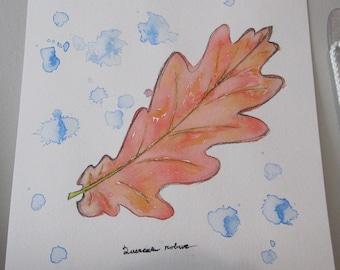 Autumn Oak Leaf India Ink Watercolor Painting - Original