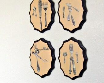 Kitchen Wall Art, Dark Purple, Silverware Art, set of 4