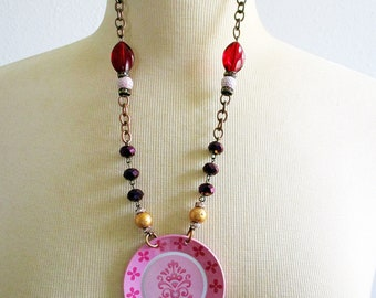 Statement Necklace, Pink and White, Purple, Red, Violet, Tin Necklace, Handmade