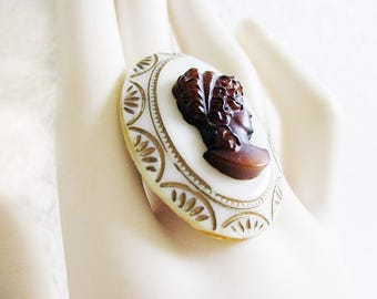 Victorian Woman, Oval Shaped Ring, Handmade